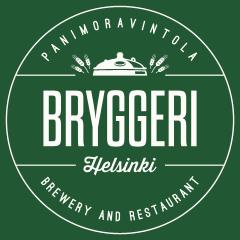 Grafik: Schriftzug BRYGGERI Helsinki, Brewery and Restaurant, Panimoravintola aufgeteilt auf rundem grünen Hintergrund