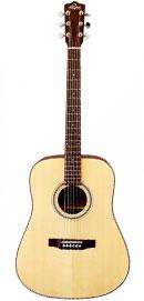Foto: eine Gitarre in Dreadnought-Form hochkannt