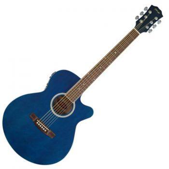 Foto: Stagg SW206CE, Catalpa/Palisander - Akustikgitarre mit Tonabnehmer - Ansicht Front blau