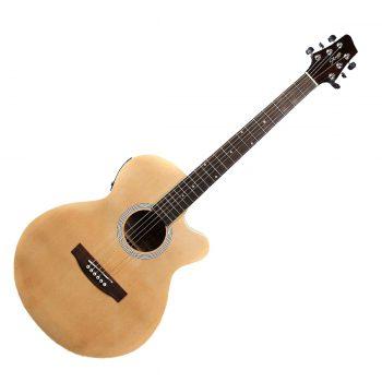 Foto: Stagg SW206CE, Catalpa/Palisander - Akustikgitarre mit Tonabnehmer - Ansicht Front natur