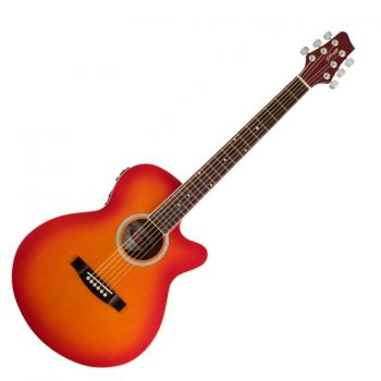 Foto: Stagg SW206CE, Catalpa/Palisander - Akustikgitarre mit Tonabnehmer - Ansicht Front rot