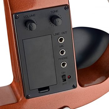 Foto: E-Violine - Front, Detailansicht Tuner imklusive Inputs und Outputs