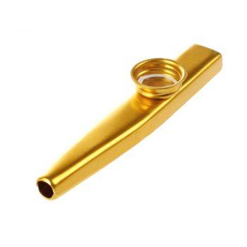 Foto: Kazoo, goldfarben - Ansicht Rückseite bzw. Mundstück, schräg von oben