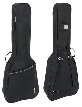 Foto: 2 Gitarrentaschen in der Front- und Rückansicht, hochkant stehend