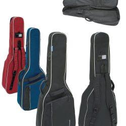 Foto: 4 Gitarrentaschen in schwarz, blau und rot in der Front- und Rückansicht, sowie eine Tasche aufgeklappt