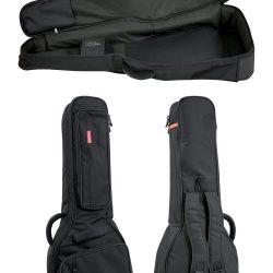 Foto: 2 Gitarrentaschen in der Front- und Rückansicht, hochkant stehend. Darüber eine Tasche aufgeklappt.