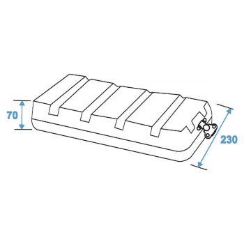 Grafik: Case ABS 4HE - Außenmaße Deckel