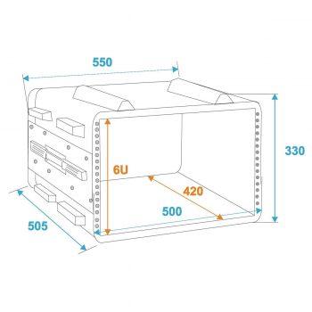 Grafik: Case ABS 6HE - Außen- und Innenmaße