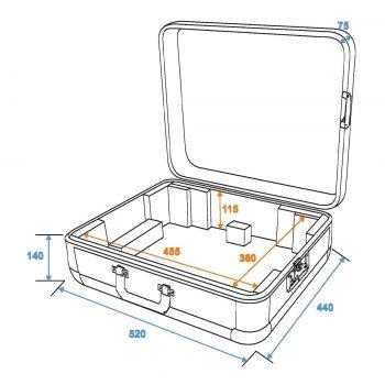Grafik: Turntablecase mit Butterfly schwarz - Außen- und Innenmaße
