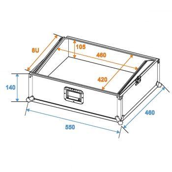Grafik: Universal Mixercase 19″ 3HE – Außen- und Innenmaße