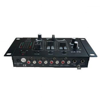 Foto: Einfacher 2-Kanal DJ-Mixer - Top und Rückseite