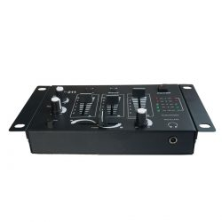 Foto: Einfacher 2-Kanal DJ-Mixer - Top und Vorderseite
