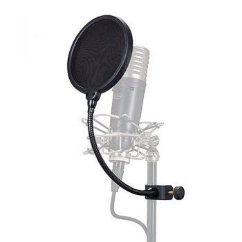 Foto: Popschutz Popkiller in Funktion am Mikrofonständer befestigt
