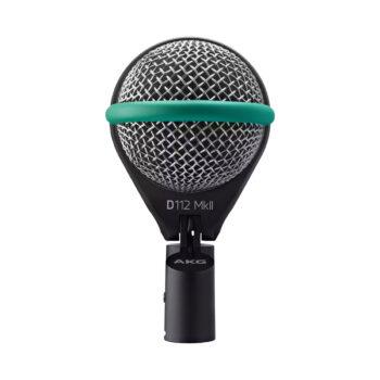 Foto: kugelfärmiges Mikrofon mit silbernem Korb umranden von grünem Gummiring inkl. schwarzer Halterung