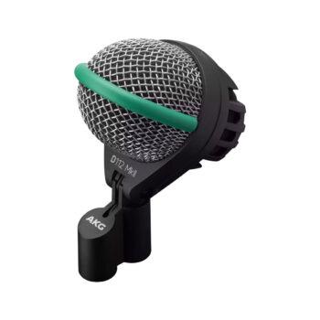 Foto: kugelförmiges Mikrofon mit silbernem Korb umranden von grünem Gummihalbring inkl. schwarzer Halterung