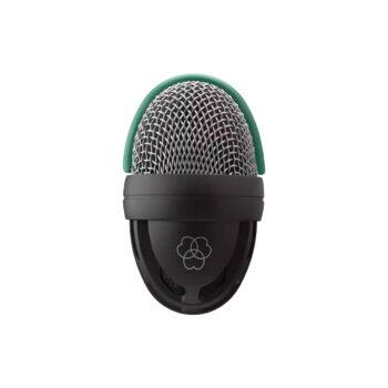 Foto: eiförmiges Mikrofon mit silbernem Korb umrandet von grünem Gummihalbring auf oberer Hälfte und durchbrochene Gehäuse mit feinmaschigem Gewebe untere Hälfte