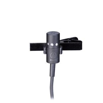 Foto: schwarze Mikrofon-Kapsel mit Kabel und Klemme
