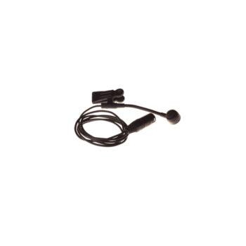 Foto: schwarze Mikrofon-Kapsel am kleinen Schwanenhals mit Klemme und Kabel mit XLR-Stecker