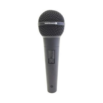 Foto: schwarzer konischer Mikrofongriff mit Schalter und schwarzem runden Korb am oberen Ende, senkrecht