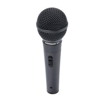 Foto: schwarzer konischer zylindrischer Mikrofongriff mit Schalter und schwarzem runden Korb am oberen Ende, senkrecht