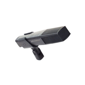 Foto: konisch rechteckiges Mikrofon mit geplostertem Griff und Gitter am oberen Drittel