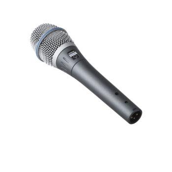 Foto: silbermetalic farbenes Mikrofon mit weißem Korb in der Rückseitenansicht
