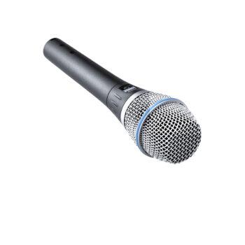 Foto: silbermetalic farbenes Mikrofon mit weißem Korb in der Frontansicht
