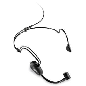 Foto: kleine Mikrofonkapsel am Schwanenhals mit Ohr-Halsbügel in Schwarz