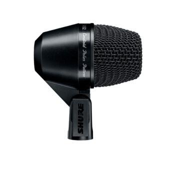 Foto: komplett schwarzes Mikrofon in der Seitenansicht