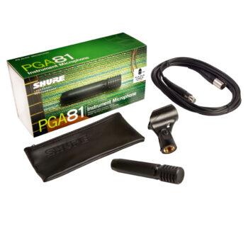Foto: bunte Verpackung, Transporttasche, Mikrofon, Halterung und Kabel