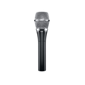 Foto: schwarzmetalic farbenes Mikrofon mit silbernem Korb