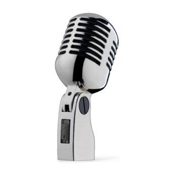 Foto: komplett verchromter eiförmig-zylindrischer Mikrofonkopf mit schlitzförmigen Aussparungen auf einer verchromten Halterung mit schwarzem Schalter