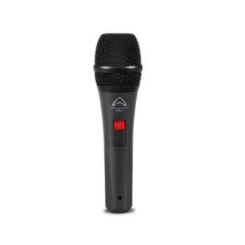 Foto: schwarzer konischer zylindrischer Mikrofongriff mit Schalter und schwarzem rundem abgeflachten Korb am oberen Ende, senkrecht stehend
